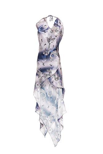 Seta e Disegno Satin in Disegno 100 Blu Rosa Dream Cashmere cashmere Night's CLUBIELLE MidSummer Abito wq8f0O0