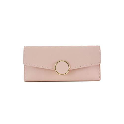 Wallet Leather Women Wallet Long Pu Leather Purse Zipper Metal Circle Decor Wallets Female Hasp Coin Purse Clutch,Pink