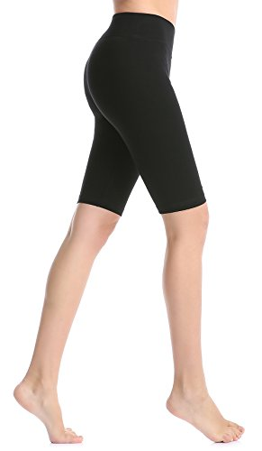 ABUSA Women's Cotton Workout Bike Yoga Shorts - Tummy Control XL Black