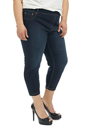 Suko Jeans Women's Denim Capri Pants Plus Size 17412 Blue 22