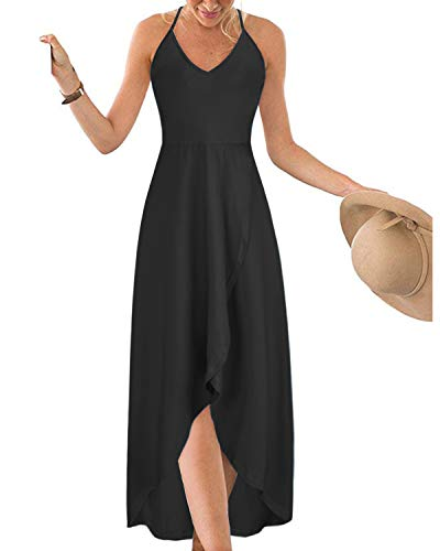 KILIG Womens V Neck Sleeveless Asymmetrical Casual Maxi Dresses (Black, XXL)