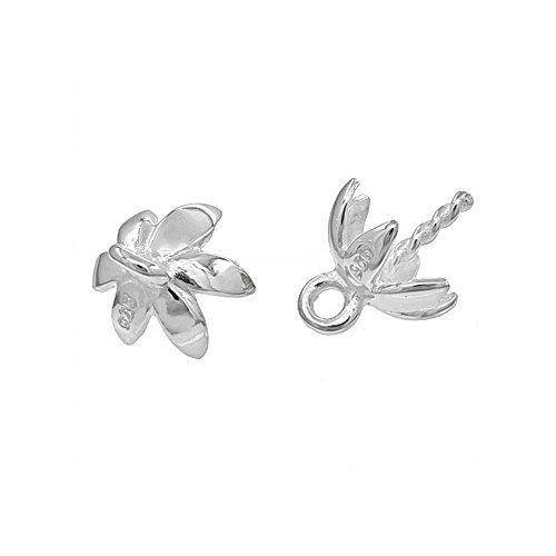 Flower Pin Pendant (2PC Sterling Silver Flower Bead / Pearl Cup Eye Pin Pendant Bail)