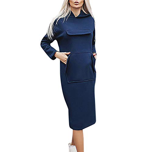 Coat For Women, Clearance Sale! Pervobs Women Autumn Casual Long Sleeve Solid Hooded Pocket Coat Knee-Length Dress(12, Blue)