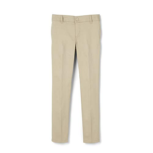French Toast Girls' Big Stretch Twill Skinny Leg Pant, Khaki, 18.5