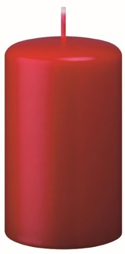 Candele Pilastro, Candelotto, Candele Cilindriche rosso natale (fragola) 10 x 5 cm, 12 Pezzi Kopschitz Candela Made in Germania