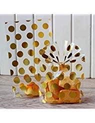 (200 Pack Gold Polka Dot Candy Bags with Golden twist ties, 8.1 x 5 x 1.8 inch Clear Plastic Treat Bags for Cookie Candy Snack Wrapping Wedding Gift Party Favor )