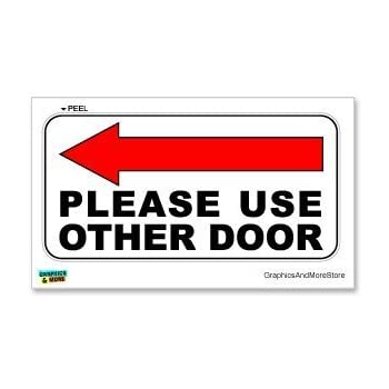 Graphics and More Please Use Other Door Left Arrow - Business Store Door Sign - Window Wall Sticker