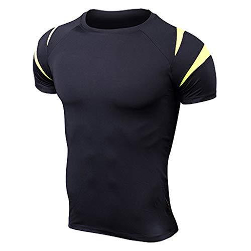 MODOQO Men's Short Sleeve T-Shirt O-Neck Slim Fit Bodybuilding Tight Sports Gym Fitness Tops(Yellow,Asian/L)