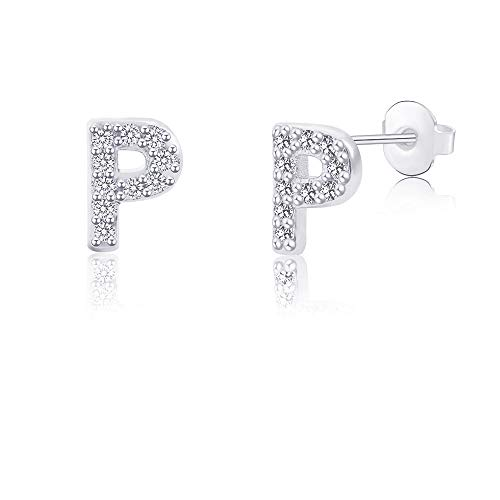 - P Initial Letter Earrings for Girls Women Hypoallergenic for Sensitive Ears Nickel Free Tiny Alphabet Stud Earrings 316L Stainless Steel Personalized Monogram Jewelry Silver Bridesmaid Gift
