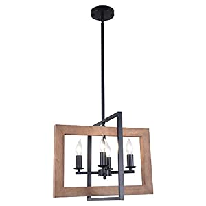 Lingkai Industrial Chandeliers Kitchen Island Light 4-Light Country Pendant Lighting Farmhouse Hanging Light Fixture Distressed Wood and Matte Black Metal Finish