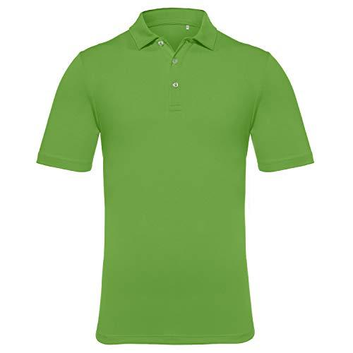 EAGEGOF Men's Regular Fit Golf Polo Shirt Short Sleeve Stretch Quick Dry Performance Polo(Dark Green, M)