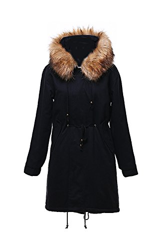 De Puffer Fleece Black Con Espesar Sintetica Capa Invierno La Mujer Parkas Casual Capucha Forrado Externa Piel Warm n0xzaXqR