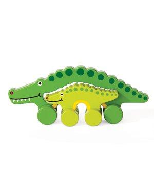 Jack Rabbit Creations Wooden Push Toy Mommy & Baby Alligator