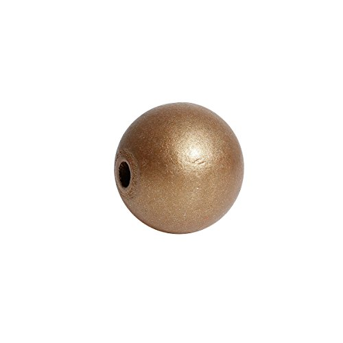 60 Gold Wood Beads Round 24mm Large Wood Beads with 5.3mm Large Hole (Wood Bead Metallic)