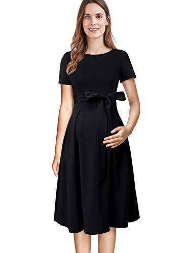 VFSHOW Womens Black Mama Maternity Nursing Peplum Pockets Pleated Work Office Skater A-Line Dress 083 BLK XL
