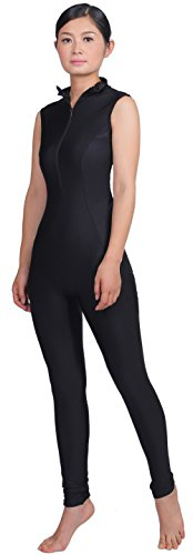 speerise Womens Open Back Sleeveless Front Zip Unitard, XXL, Black