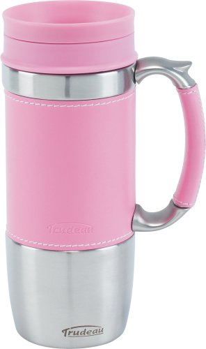 Trudeau Board Room 16-Ounce Travel Mug, Pink