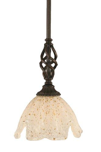 Toltec Lighting 80-DG-755 Elegante Mini-Pendant Dark Granite Finish with Gold Ice Glass Shade, 7-Inch