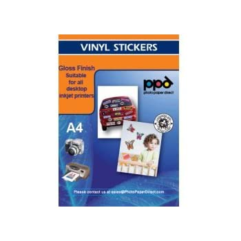 Ppd inkjet glossy creative vinyl stickers ltr 8 5 x 11 4 7mil x 20 sheets