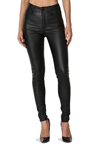 TheMogan Women's High Waisted Stretch Faux Leather Skinny Pants Black 7