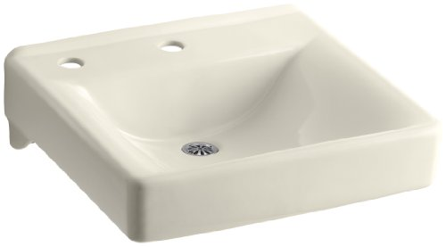KOHLER K-2084-NL-47 Soho Wall-Mount Bathroom Sink with Single-Hole Faucet Drilling, Left-Hand Soap/Lotion Dispenser Hole Drilling and Sealed Overflow, ()