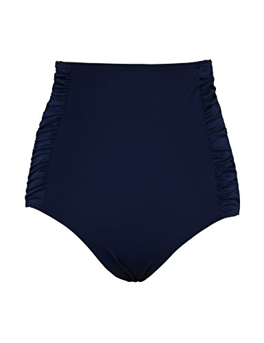 Septangle Women's High Waisted Ruched Swim Briefs (Navy Blue,US 12)