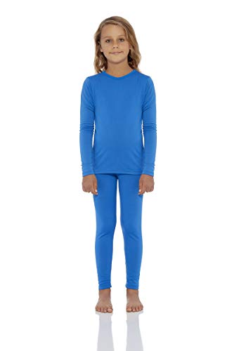 (Rocky Girls Fleece Lined Thermal 2PC Underwear Set Top and Bottom (S, Royal Blue))