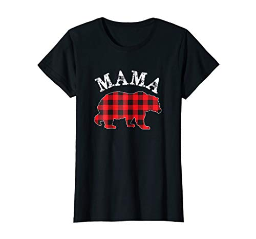 Papa Bear Flannel - Womens Red Plaid Mama Bear Matching Buffalo Family Pajama T-Shirt Medium Black