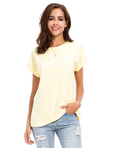 Womens Short Sleeve Loose Fitting T Shirts Cotton Casual Tops