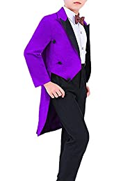 DGMJDFKDRFU Formal Wedding Suits Outfits for Boys Slim Fit Tuxedo with Tails HTXZ008