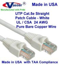 Made in USA, 11 Ft Cat5e Ethernet Patch Cable RJ45 Computer Networking Cord Pink