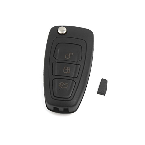 uxcell 3 BTN Flip Keyless Entry Remote Key 4D63 Chip for Ford Focus MK3 and T6 Ranger