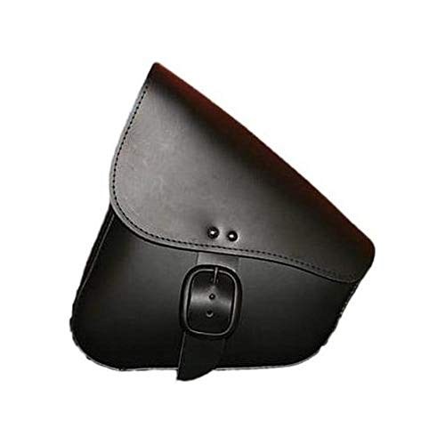 9893-00 Triangulated Leather Motorcycle Swingarm Bag: Matte Black Buckle, Black, 9 Liter Capacity ()