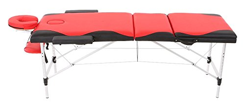 "Abody Portable Massage Table 3 Fold Aluminium Frame Adjustable SPA Bed Tattoo Beauty Salon, 84""L, Red Plus Black"