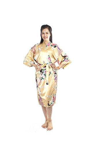 Lofbaz Mujeres Real Impreso Kimonos Pavo real Oro
