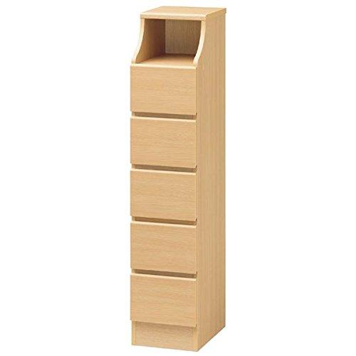 木製シンプルチェスト/収納タンス 〔5段 幅28cm×高さ130cm〕 ナチュラル 収納棚付き 組み立て簡単 『CHESCA チェスカ』〔代引不可〕 B0793RGL54