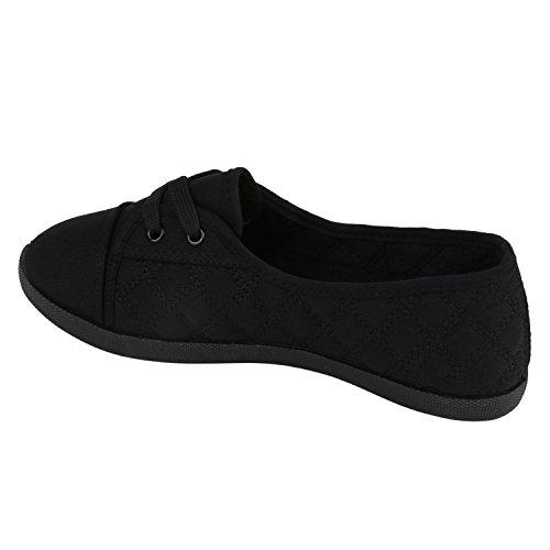 Klassische Damen Ballerinas Sportliche Stoffschuhe Slipper Flats Sneakers Slip-ons viele Farben Flandell Schwarz Gesteppt