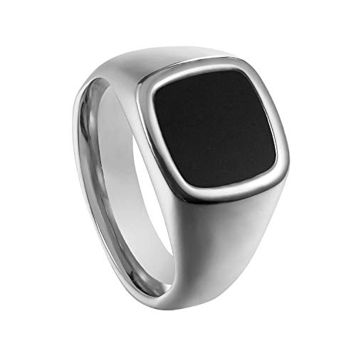 (Milo Bruno - Unisex Genuine Onyx Stainless Steel Signet Ring (Silver) - 12)