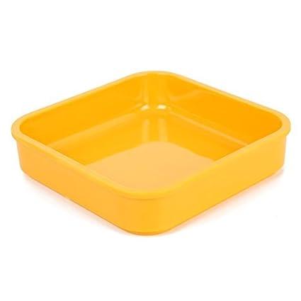 DealMux Praça Plástico Salada em forma de bandeja Dish Pot placa amarela