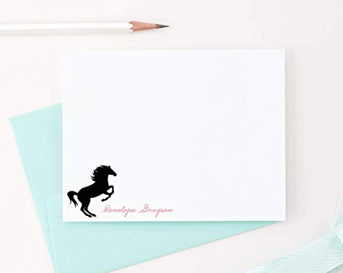 Horse stationery cards for kids, Personalized horse note cards, Equestrian Stationery, Stationery for girls,Personalized stationery for girls, Your choice of Colors and - Equestrian Girl 10