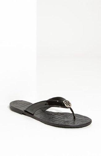 Tory Burch Thora Patent Leather Sandal Black Women's 10 M US (Tory Burch Sandal 10)
