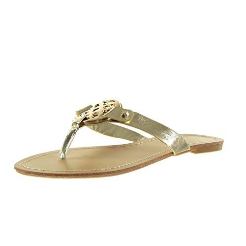 Angkorly - damen Schuhe Sandalen - Schleife - golden Blockabsatz 1 CM - Gold