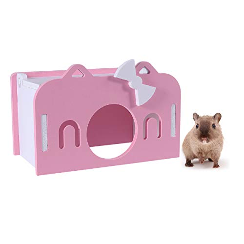 POPETPOP Hamster Hideout House-Wooden Hamster Hide/Nest Sleeping Room-Exercise Game/Playground Toy for Mouse Chinchilla Rat Gerbil Chinchilla-Pink