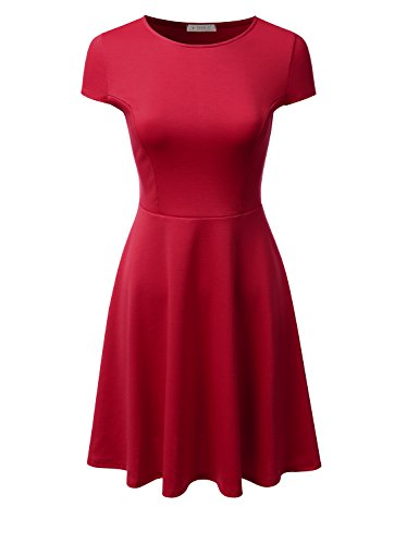 Red School Dress (Doublju Stretchy Flared Midi Skater Dress (Plus size available / Made In USA) RED MEDIUM)