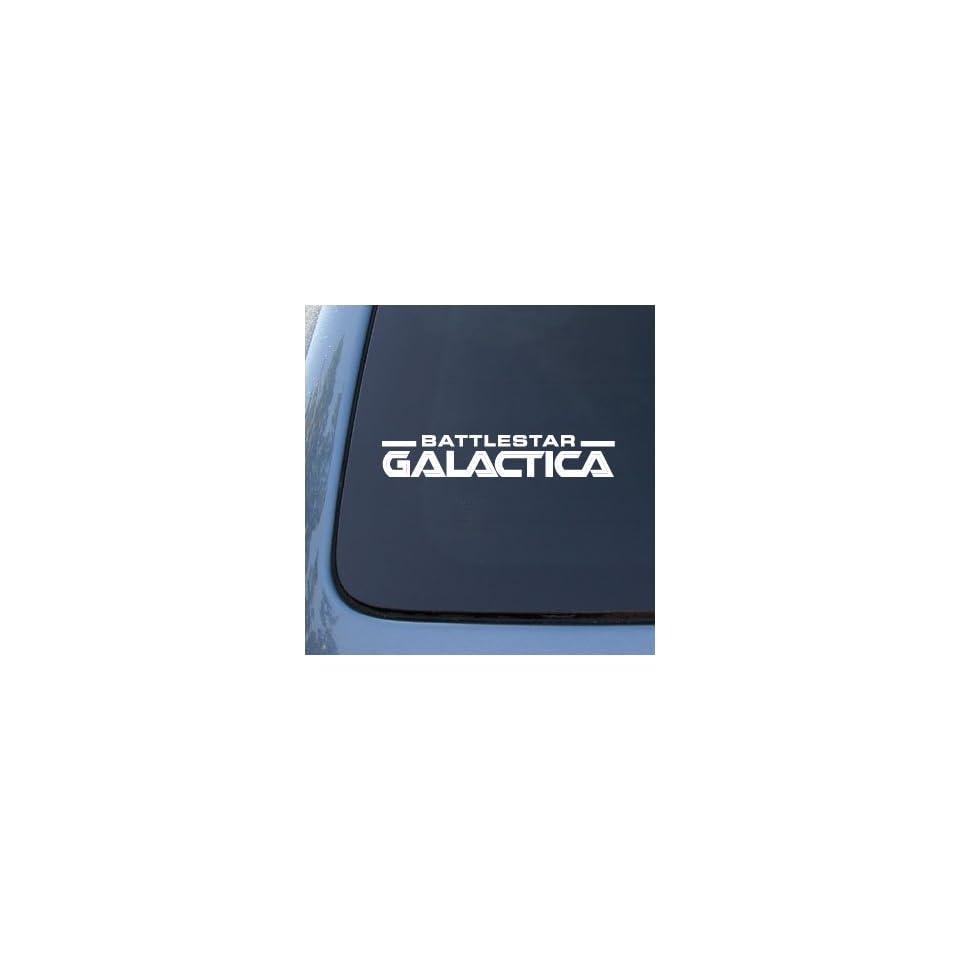 BATTLESTAR GALACTICA LOGO   Vinyl Decal Sticker #A1425  Vinyl Color White