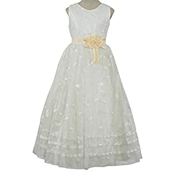 Miniwood Gown For Girls - 8-9 Years, White