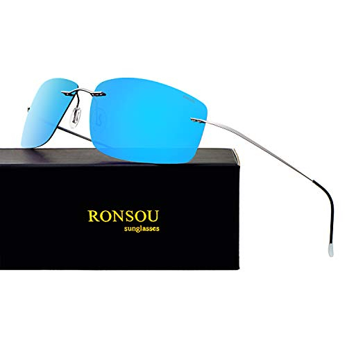 (Ronsou Ultra-lightweight Rimless Titanium Men's Fashion Polarized Sunglasses for Driving Outdoor Gray Frame Blue Lens (Mirrored) )