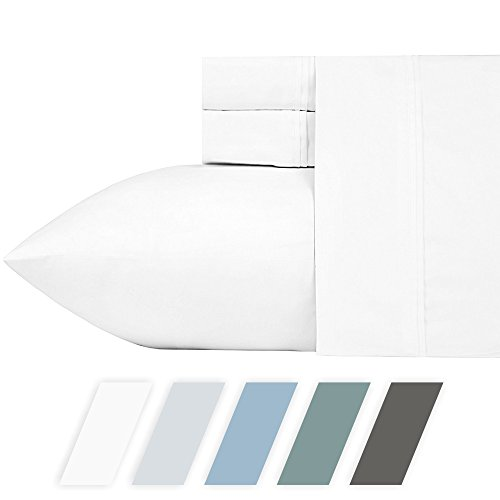 700-Thread-Count Cotton Blend Sheet Pure White Queen Sheets Set, 4-Piece Best Bedding Sheets For Bed on Amazon, Breathable, Silky Sateen Weave, Poly Cotton, Fits Mattress Upto 18'' Deep Pocket ()