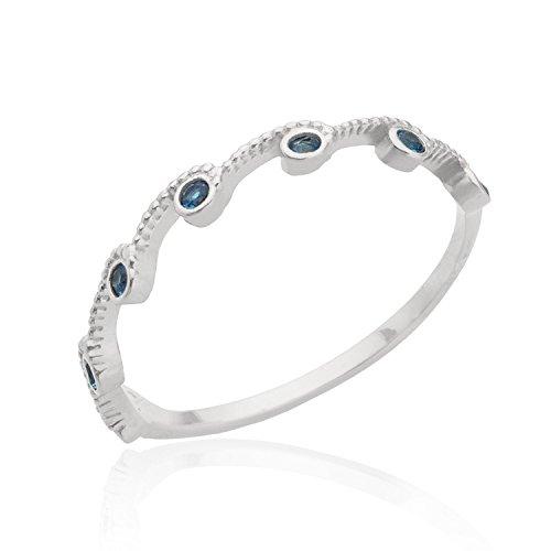 b1c385f0f6ea8 Amazon.com: Aquamarine Stacking ring Gemstone Multistone Everyday ...