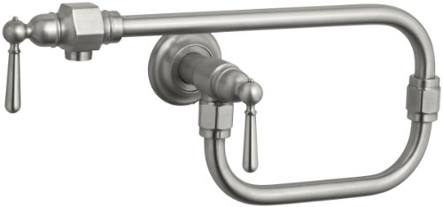 KOHLER K-7322-4-BS HiRise Wall-Mount Kitchen Pot Filler, Brushed Stainless